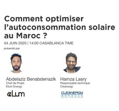 Webinar «Comment optimiser l'autoconsommation solaire au Maroc» 04/06/2020