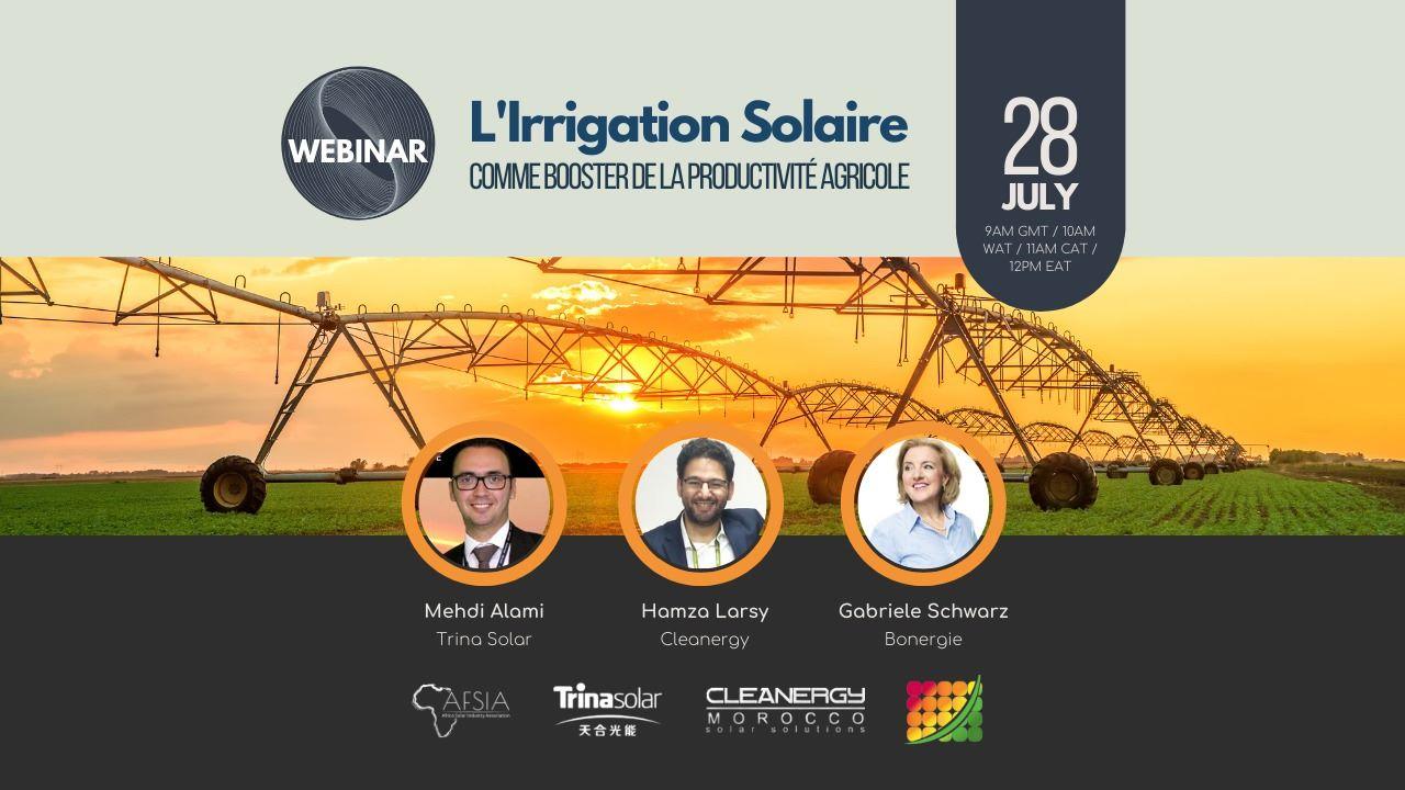Webinaire L'irrigation solaire le 28/07/2021 à 10h